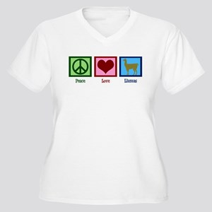 0b40e7385 Peace Love Llamas Women's Plus Size V-Neck T-Shirt
