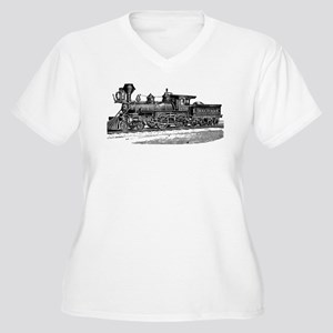 Vintage Train Women's Plus Size V-Neck T-Shirt