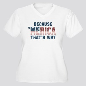 Because 'Merica Vintage Women's Plus Size V-Neck T