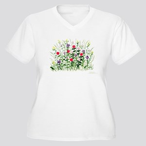 Field of Flowers Women's Plus Size V-Neck T-Shirt