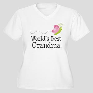 9328d0d4 World's Best Grandma Women's Plus Size V-Neck T-Sh