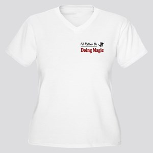 Rather Be Doing Magic Women's Plus Size V-Neck T-S