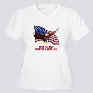 PERSONALIZED AMER Women's Plus Size V-Neck T-Shirt