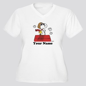 Peanuts Flying Ac Women's Plus Size V-Neck T-Shirt