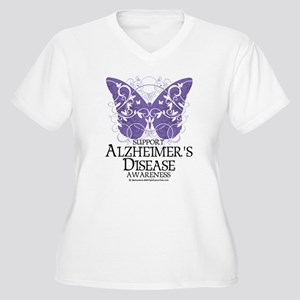 Alzhimers Butterfly 4 Women's Plus Size V-Neck T-S