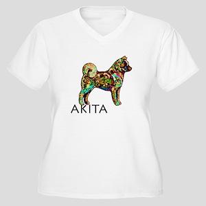 Glow Bright Akita Women's Plus Size V-Neck T-Shirt