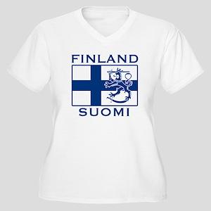Finland Suomi Flag Women's Plus Size V-Neck T-Shir