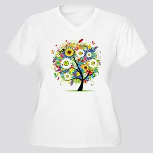 summer tree Women's Plus Size V-Neck T-Shirt