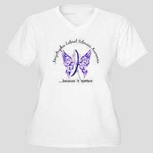 ALS Butterfly 6.1 Women's Plus Size V-Neck T-Shirt