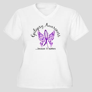 Epilepsy Butterfl Women's Plus Size V-Neck T-Shirt
