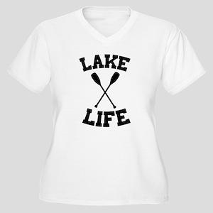 Lake life Women's Plus Size V-Neck T-Shirt