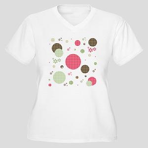 Gingham Polka Dot Women's Plus Size V-Neck T-Shirt