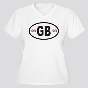 GB Great Britain Euro Style Women's Plus Size V-Ne
