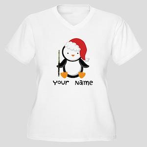 Personalized Flute Penguin Women's Plus Size V-Nec