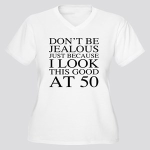 50th Birthday Jea Women's Plus Size V-Neck T-Shirt