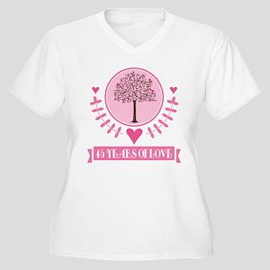 45th Anniversary Love Tree Women's Plus Size V-Nec
