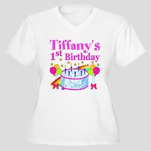 PERSONALIZED 1ST Women's Plus Size V-Neck T-Shirt