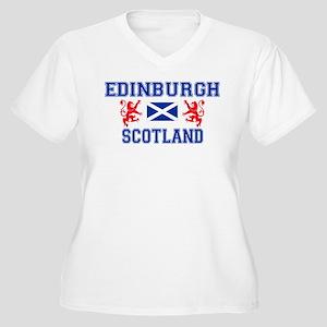 Edinburgh Women's Plus Size V-Neck White T-Shirt