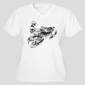Camoflage Snowmobiler in Grey Women's Plus Size V-