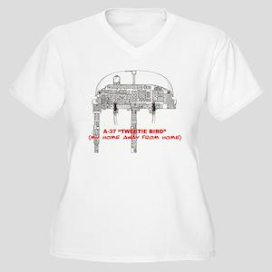 A-37 TWEETIEBIRD Women's Plus Size V-Neck T-Shirt