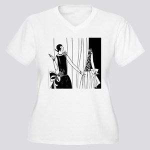 1920s vintage flappers black whi Plus Size T-Shirt
