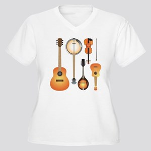 String Instruments Women's Plus Size V-Neck T-Shir