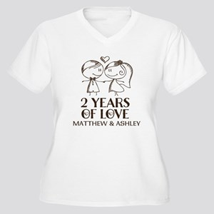 2nd Wedding Anniversary Personalized Plus Size T-S