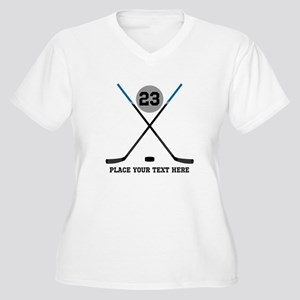 Ice Hockey Person Women's Plus Size V-Neck T-Shirt