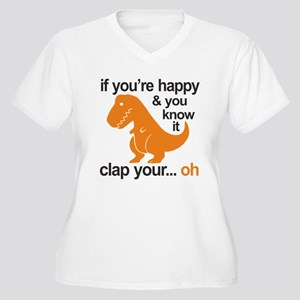 T-Rex clap your h Women's Plus Size V-Neck T-Shirt