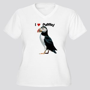 I Luv Puffins Women's Plus Size V-Neck T-Shirt