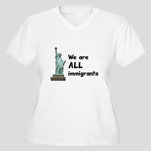 We're all immigrants Women's Plus Size V-Neck T-Sh