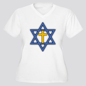 Star of David with Cross Women's Plus Size V-Neck