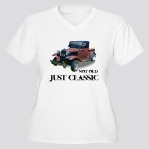 "not old ""just classic"" Women's Plus Size V-Neck T-"