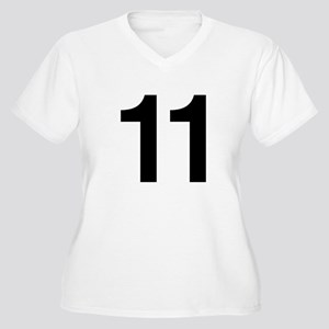 Number 11 Helvetica Women's Plus Size V-Neck T-Shi
