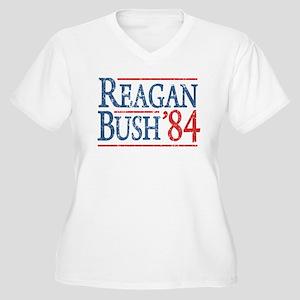 Reagan Bush 84 retro Women's Plus Size V-Neck T-Sh