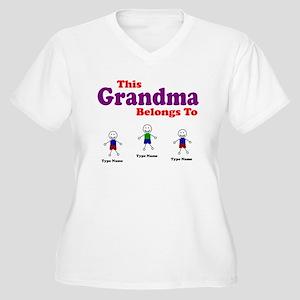 Personalized Grandma 3 kids Women's Plus Size V-Ne