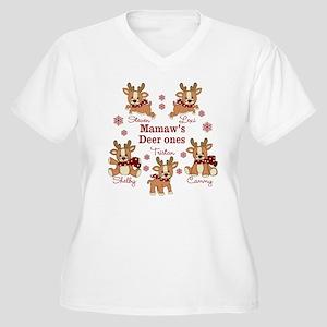 Custom deer grand kids Women's Plus Size V-Neck T-