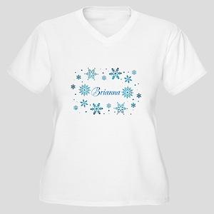 Custom name Snowflakes Women's Plus Size V-Neck T-