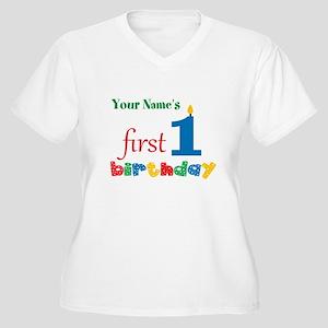 First Birthday - Women's Plus Size V-Neck T-Shirt