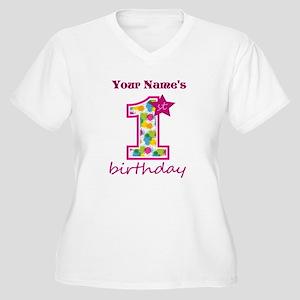 1st Birthday Spla Women's Plus Size V-Neck T-Shirt