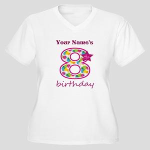 8th Birthday Spla Women's Plus Size V-Neck T-Shirt