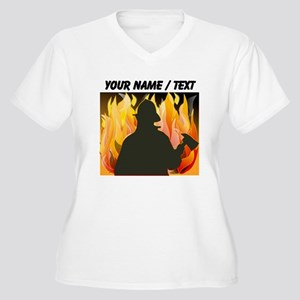 Custom Silhouetted Firefighter Plus Size T-Shirt