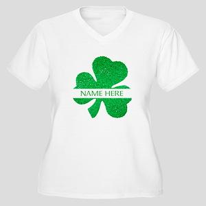 Custom Name Shamrock Plus Size T-Shirt