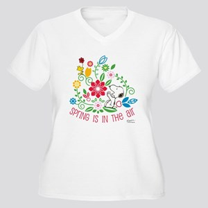Snoopy Spring Women's Plus Size V-Neck T-Shirt