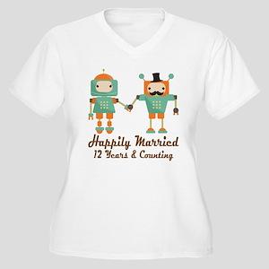 12th Anniversary Women's Plus Size V-Neck T-Shirt