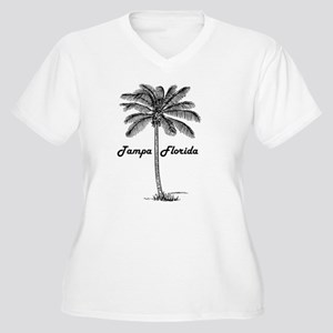 Black and White Tampa & Palm des Plus Size T-Shirt