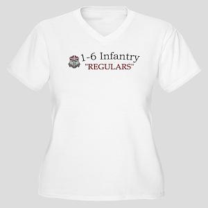 1st Bn 6th Inf Women's Plus Size V-Neck T-Shirt