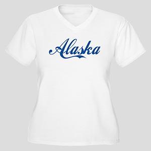 Alaska (cursive) Women's Plus Size V-Neck T-Shirt