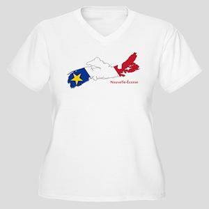 Acadian Flag Nova Scotia Women's Plus Size V-Neck