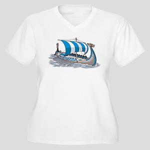 Blue Viking Ship Plus Size T-Shirt